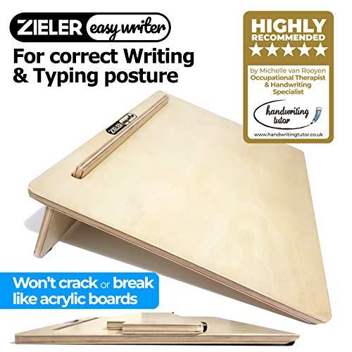 Ergonomische A3-Schräglage für bessere Schreibhaltung - von ZIELER® Easywriter. Hochwertiges, lackiertes Holzfinish mit 20 ° Winkel. Geeignet für Links- und Rechtshänder. Platzsparendes Design