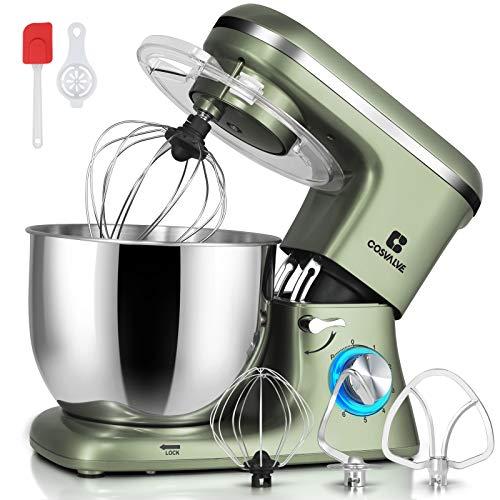 COSVALVE Küchenmaschine Knetmaschine 1400W, 7L Edelstahlschüssel mit Rührbesen, Knethaken, Schlagbesen, Spritzschutz, 6 Geschwindigkeit mit Geräuschlos Teigmaschine (Silbergrün)