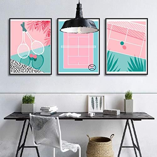 Tela di canapa rosa blu stile nordico poster semplicità cartone animato tennis racchetta parete arte arte del salotto casa decorazione 40x50cmx3 senza cornice