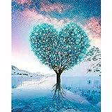 Diamond Painting Kit Completo,Árbol de corazón verde 5D DIY Pintura Diamante para Adultos Niños Cristal Rhinestone Bordado Punto de Cruz Mosaico Art for Home Wall Decor Square Drill,60x80cm(24x32in)