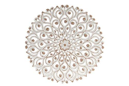 DONREGALOWEB Mandala Redondo de Madera Calado Blanco decapado 45x2 cm