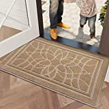 DEXI Schmutzfangmatte 50 x 80 cm,wasserabsorbierende Fußmatte für Innen und Außen,rutschfest und waschbar Haustürmatte Türmatte Teppiche Eingangsteppich,Beige