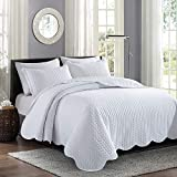 MOONLIGHT20015 - Copriletto trapuntato per letto king size, 240 x 260 cm, con 2 federe per cuscino decorativo, reversibile, in rilievo, con finitura opaca (bianco, king size)