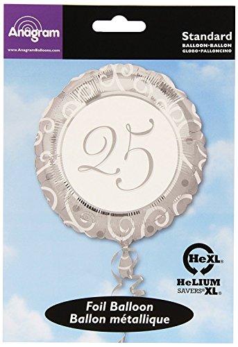 amscan 11056 01 Folienballon 25. Hochzeitstag, Silber, Weiß