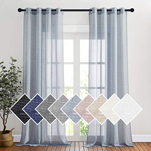 """NICETOWN Sheer Curtains Flax Texture for Bedroom, Retro Grommet Top Linen Textured Semitransparent Privacy Window Treatment Light Filter for Living Room, 52"""" W x 108"""" L, Set of 2, Sea Mist"""