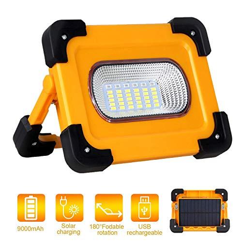 T-UN LED-bouwlamp, draagbare solar LED-werklamp, werkplaatslamp, draagbaar, outdoorschijnwerper met 9000 mAh powerbank, USB-oplaadbaar, voor autoreparatie, camping, noodgevallen enz.
