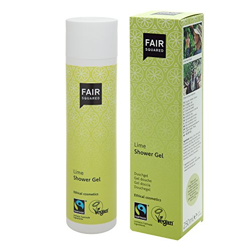Fair Squared Shower Gel Lime, natuurlijke douchegel voor gevoelige huid, fair, veganistisch, NATRUE-gecertificeerd, 250 ml