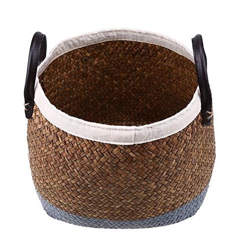 Cesto de Almacenaje de Mimbre Canasta de almacenamiento de mimbre Caja de almacenamiento de ratán, pastoral pintado a mano de borde de lino maceta PU mango mango trenzado lavandería cesta para juguete