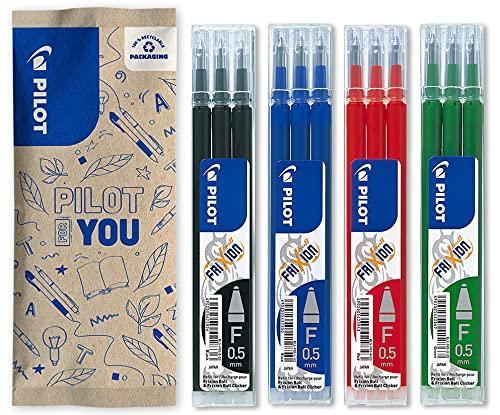 Pilot – Lote de 4 paquetes de 3 recambios – FriXion Ball 0,5 – Recargas bolígrafo borrable – azul, negro, verde, rojo – Punta fina