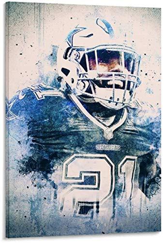 PóSter Y Estampados Jugador de fútbol Ezekiel Elliott para Porch Decor Lienzo Pintura Pared Arte Cuadros 19.7'x27.6'(50x70cm) Sin Marco