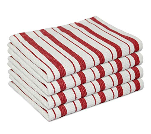 White Dish Towels with Red Lines