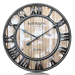 Wooden Wall Clocks Battery Operated Decorative Living room 21 inch ,Home,Office,Extra Large Vintage Wall Clock Wood Frame Silent Non Ticking,3D Roman Numeral Mantel Wall Clocks Metal Antique,pink