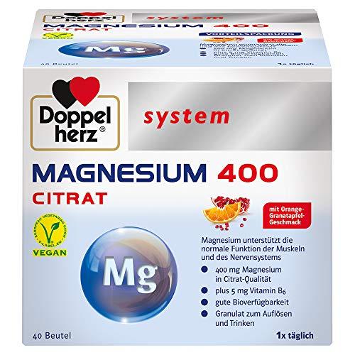 Doppelherz system MAGNESIUM 400 CITRAT – Magnesium als Beitrag für die normale Funktion der Muskeln und des Nervensystems – 40 Portionsbeutel