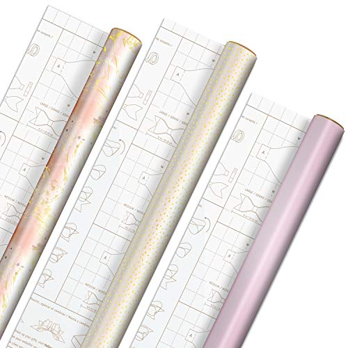 Hallmark Pink and Gold Wrapping Paper with Cutlines and Optional DIY Bow Templates on Reverse (3-Pack: 75 sq. ft. ttl) for Christmas, Birthdays, Weddings, Bridal Showers, Baby Showers, Crafts