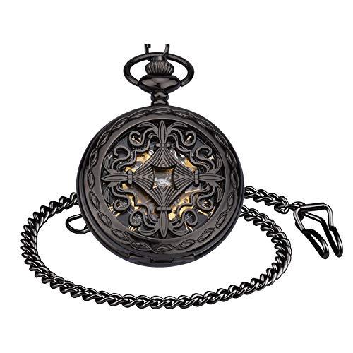 Infinito U- Vendimia Negro Reloj de Bolsillo Mecánico para Hombres Mujeres Escala Numeral Romano con 2 Cadenas