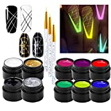 10 Color Luminous Spider Gel, UV Gel Nail Polish with 3 Nail Art Line Pen Tools DIY Glow in The Dark Nail Art Drawing Gel for Line Neon Fluorescent Effect Manicure Decorations for Party Dance
