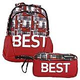 """BESTLIFE Mochila y estuche en un set """"TASKU"""" mochila escolar, para el tiempo libre con compartimento para el portátil hasta 15,6 pulgadas (39,6 cm), rojo"""