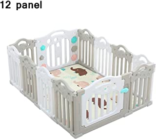 QFFL Baby Playpen Kids Activity Center Safety Play Yard Home Indoor -Outdoor Portable Children s Play Fence With Door Gray powder Blue 12 Panel  Color Gray  Size panel-151 5x114 5x60cm