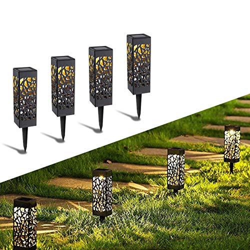 Solarleuchte Garten Outdoor, KIPIDA Solar Gartenleuchte, Solarlampen für Außen LED Solar Taschenlampe IP65 Wasserdicht [Energieklasse A +++] (4 Stück)