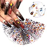 10 Sheets Halloween Nail Foil Transfer Stickers Nail Art Supplies Pumpkin Spider Skull Ghost Witch Bat Nail Foils Decals Acrylic Nails Design Manicure Transfer Tips Charms Halloween Party Favors