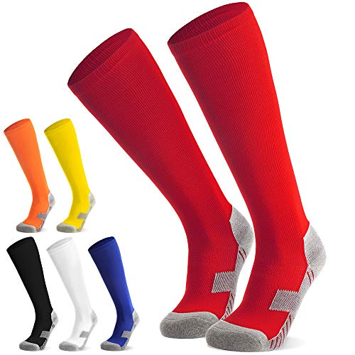 Kinder Fussballsocken Fussballstutzen Fussballstrümpfe Jungen Mädchen - Sportsocken Trainingssocke Sockenstutzen - für Fußball, Laufen, Training 2 Paar (Rot L)