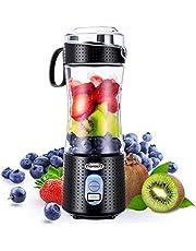 TOPESCT Bärbar blandare, personlig mixerfrukt uppladdningsbar med USB, mini-mixer för smoothie, fruktjuice, mjölkskakningar 380 ml, sex 3D-blad för bra blandning (svart)