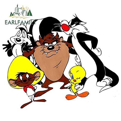 BJDKF 13 cm x 10,5 cm per Looney Tunes Taz Tweety Sylvester personalità Creativa Adesivo in Vinile Decorazione Impermeabile per Auto