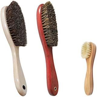 JTKDL Horsehair Pig Bristles Shoe Brushes Hair Made for Light Dark Shoes or Boots Other Leather Care Leather Boot Cloth Bag