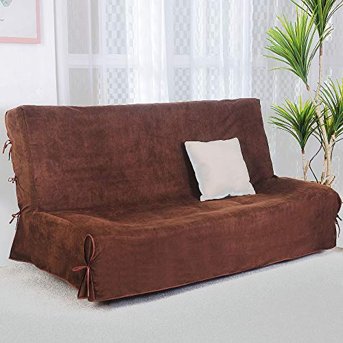 CLIC CLAC Funda de sofá de 3 plazas (140 x 200 cm, Acolchada), Chocolate, Trois Places