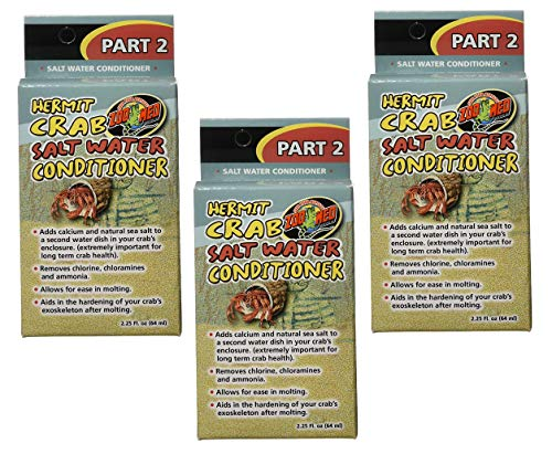 (3 Pack) Zoo Med Hermit Crab Salt Water Conditioner, 2.25-Ounce Each