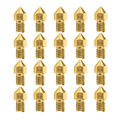 20pcs 0.4mm MK8 Nozzles 3D Printer Extruder Accessories for Creality Ender 3 5 CR-10 10S S4 S5 and so on (20 pcs)
