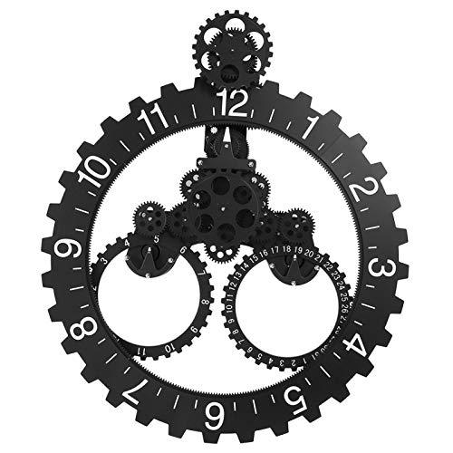 Cosiki Reloj de Rueda Calendario mecánico, q Reloj Giratorio de Arte de Pared, Negro Durable Decoración Agradable Tres círculos Oficina fantástica para el Estudio en casa Sala de Estar