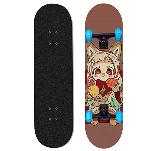Ayyayy Cubierta de Crucero de pie Completo Hanako-kun para Inodoro, monopatín Longboard 31'X8 monopatín de Anime, monopatín de Cuatro Ruedas, Adecuado para niños y Adolescentes