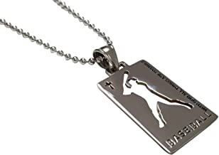 Ben Junot USA - Original Christian Stainless Steel Sport Medal Necklace - Chain Included with God All Things are Possible (Baseball)
