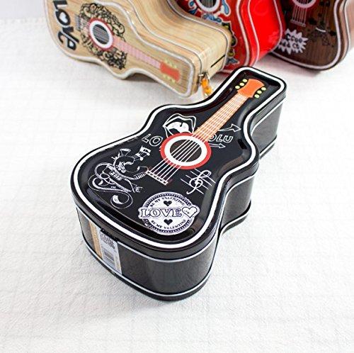 Abenily Münzen-Spardose-Geschenkbox Hip Hop Gitarre Sparschwein Erstaunliche Weißblech Candy Jar mit Schloss (Schwarz)