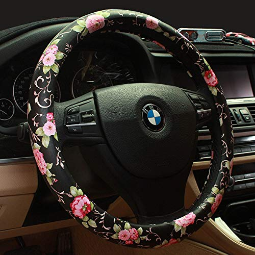 Limited - Binsheo PU Leather Floral Auto Car Steering Wheel Cover,for Women Girls Ladies,Anti Slip...