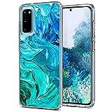 Verco Handyhülle für Samsung S20 Hülle, Premium Muster Handy Cover für Samsung Galaxy S20 Hülle weiches Flexibles TPU Hülle, Abstract Blau