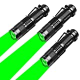 3 Pack Green Light Flashlight,3 Mode Zoomable Green Flashlight Torch with Clip, Green LED Flashlight for Hunting,Astronomy Observation, Night Vision,Climbing