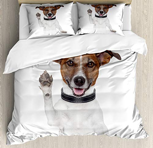 ABAKUHAUS Jack Russell Duvet Cover Set, Waving High Fiving Baby Dog Animal Lover Themed Design Paws, Bedding Set 3 Pieces with 2 Pillow Shams, Double UK Size, Brown Black and White