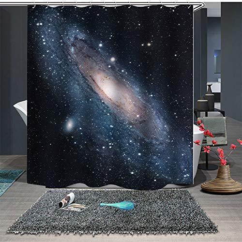 Chickwin Anti-Schimmel und Wasserdicht Duschvorhang für Badezimmer, 3D Verträumt Lila Universum Galaxy Drucken mit 12 Duschvorhangringe Waschbar Duschvorhang (180x180cm,Schwarz Wirbel)