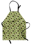 Lunarable Shamrock Apron, St Patrick's Day Holiday Clover Silhouettes with Vintage Effect, Unisex Kitchen Bib with Adjustable Neck for Cooking Gardening, Adult Size, Beige Green