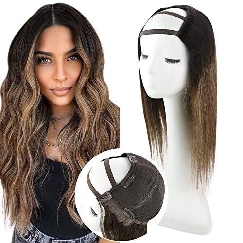 VeSunny U Part Wig Cap 16inch #1B Jet Black to #4 Brown Balayage #27 Caramel Blonde U Part Wig Human Hair For Women Highlight Brown U Part Brazilian Hair Wig Medium Cap 120g