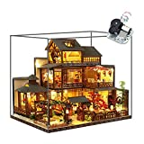 WYD 3-Story Japanese-Style Villa Model Japanese Style Wooden Assembled Dollhouse Kit Puzzle Toys Furniture Kits LED Light House Gift for Friends Parents Children(with dust Cover and Music)
