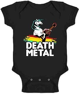 Death Metal Unicorn Retro Rainbow Funny Infant Baby Boy Girl Bodysuit