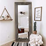 Trvone Full Length Dressing Mirror Wood Floor Mirror Solid Wood Frame Mirror with Standing Holder Wooden Frame Vertical and Horizontal Hanging Mirror Wall Decor (58'x24', Charcoal Baked)