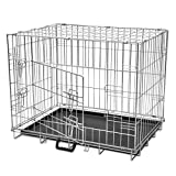 Vislone Jaula Plegable de Metal para Mascota Perros Transportin para Perro con 2 Puertas y Forro de Suelo Plástico Tamaño M 76x55x61cm