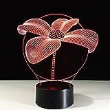 3D Ilusión Optica Lámpara,Hermosas Flores Luz Nocturna Led 7 Colores Cambiantes Touch Usb De Energía Del Hogar Decoración Niño De Cumpleaños Regalo Juguetes