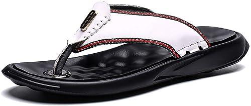 L-X Hommes Marchant Marchant Marchant Tongs Sandales Sport Classique été Loisirs Mode Sandales en Cuir de Grande Taille, Blanc, 39 UE d88