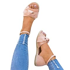 d0089576bec7 XMWEALTHY Women s Cute Bow Espadrilles Sandals Shoes Lightwei .