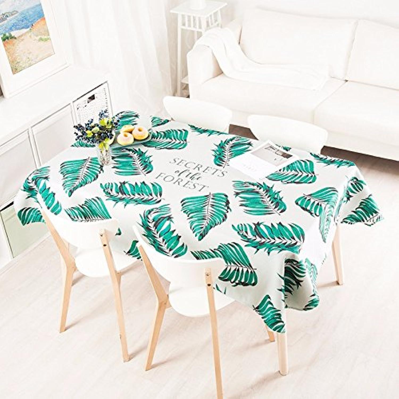 HXC Home 140  240cm Grün beige Blatt Palm Blatt Skandinavisch Modern Instagram Tischdecken Baumwolle leinen Esstisch rechteckigen Quadrat Nicht bügeln umweltfreundlich Tischtuch B075YS44GT Wirtschaftlich und praktisch   | Haben Wir Lob Von Kunde